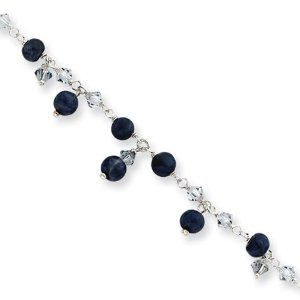 Beaded Anklet Bracelet in Sterling Silver, 9 inch The Black Bow. $46.00. Crafted from polished, sterling silver. 9 inch chain Fastens with a spring lock closure. Features shadow crystals & lapis beads