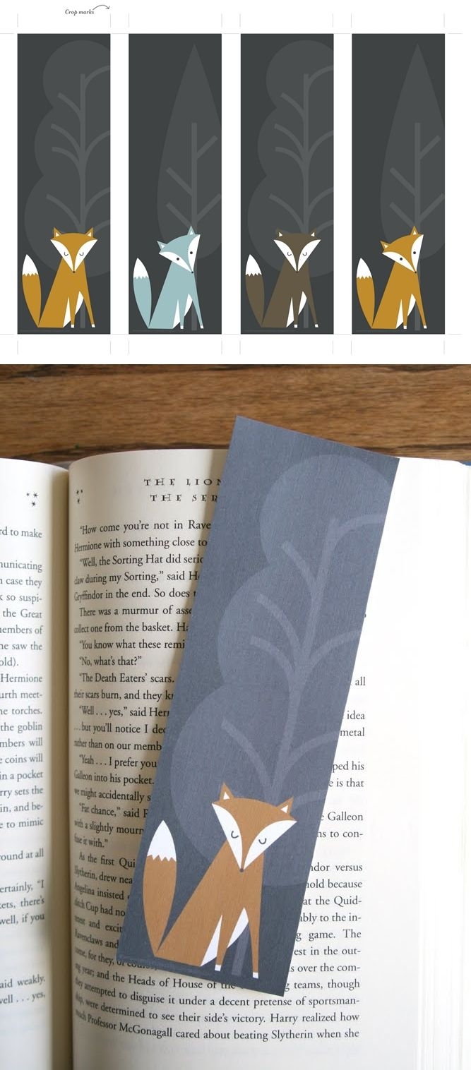 Marque-pages renards à imprimer http://sharonrowanphotodesign.blogspot.be/2011/03/free-bookmark-download.html