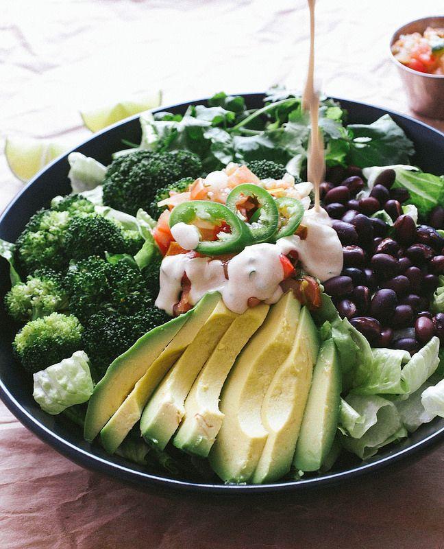 black bean, broccoli, and avocado salad with cumin lime ...