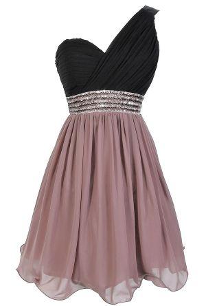 One Shoulder Embellished Chiffon Designer Dress in Black/Vintage Rose.