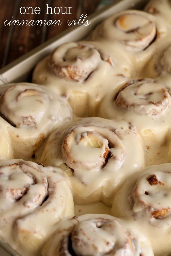 Delicious One Hour Cinnamon Rolls with cream cheese frosting. Normally homemade cinnamon rolls take so long! You can have homemade cinnamon rolls quick and easy!