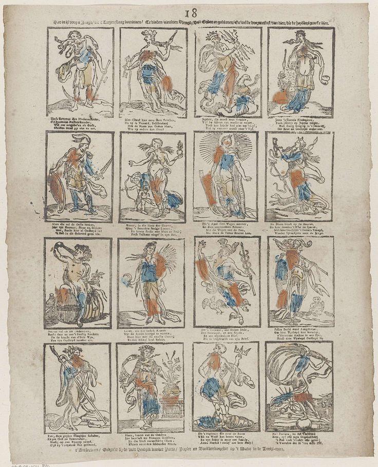 Weduwe Hendrik van der Putte | Hier in is voor u jeugd / die 't leezen staag beminnen / Te vinden nieuwen vreugd / Van Goden en godinnen, / En wel de voornaamst'  van dien / die de heydens gunste bien, Weduwe Hendrik van der Putte, Anonymous, 1765 - 1767 | Blad met 16 voorstellingen van mythologische figuren, zoals Jupiter, Juno, Mars en Pan. Onder elke afbeelding een vierregelig vers. Genummerd midden boven: 18.