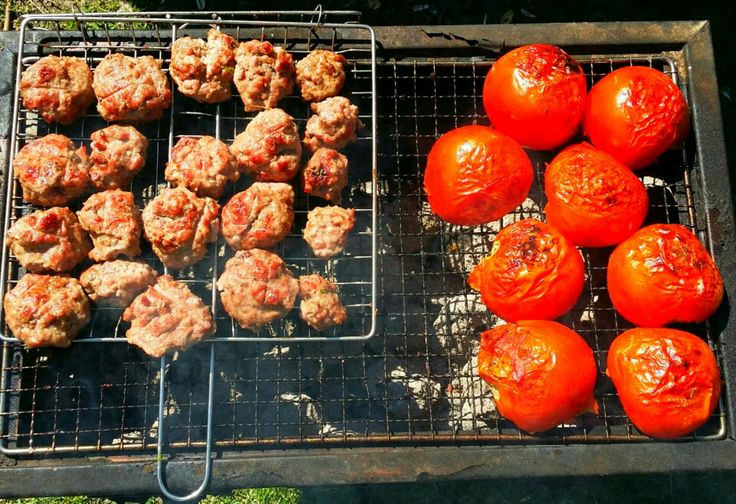 Barbecue on a sunny day . Grilled chicken wings . Kofta and shaslick.