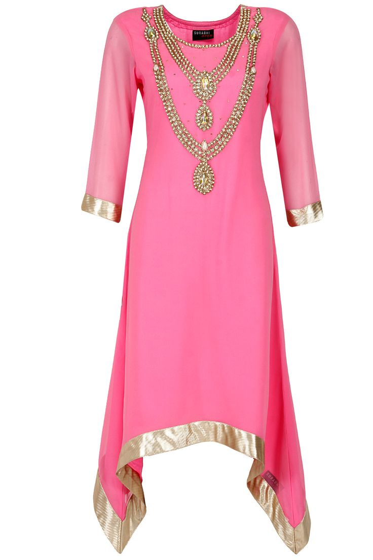 Pink necklace design asymmetrical tunic available only at Pernia's Pop-Up Shop.