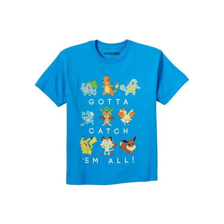Boys 8-20 Pokemon Catch 'Em All Tee, Size: Medium, Turquoise/Blue (Turq/Aqua)
