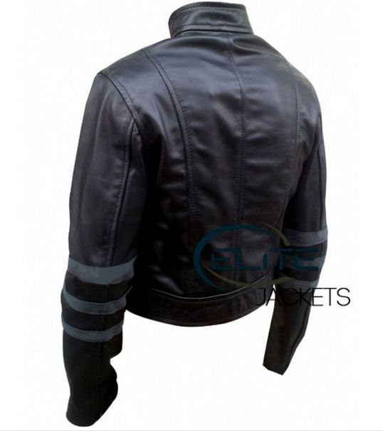 back side looks of Jessica alba leather jacket #unique leather jacket for female