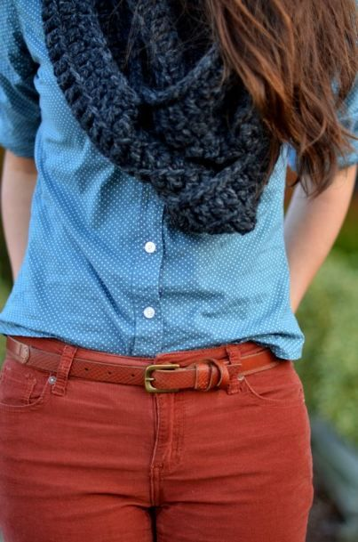 Fall Inspiration... belted colored skinny jeans, dotted chambray, chunky scarf, brown boots: the dotted chambray is awesome.