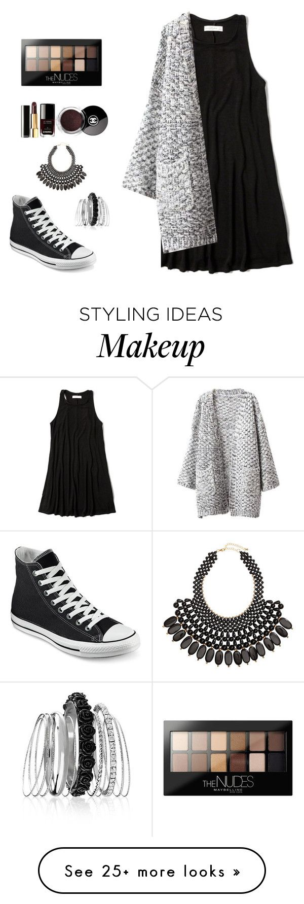 """Untitled"" by annikalabonte on Polyvore featuring Abercrombie & Fitch, Chicnova Fashion, Converse, Avenue, H&M and Maybelline"