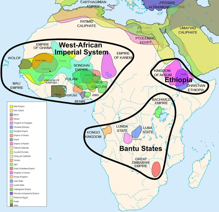The empires of Africa, before colonialism: This map of indigenous African empires is not exhaustive. It spans two thousands years from 500 B.C. to 1500 A.D., so these empires were not concurrent; some existed centuries apart. But it shows that, like with North America and perhaps even more so, sub-Saharan Africa was rich with vast and powerful empires long before the Europeans arrived.