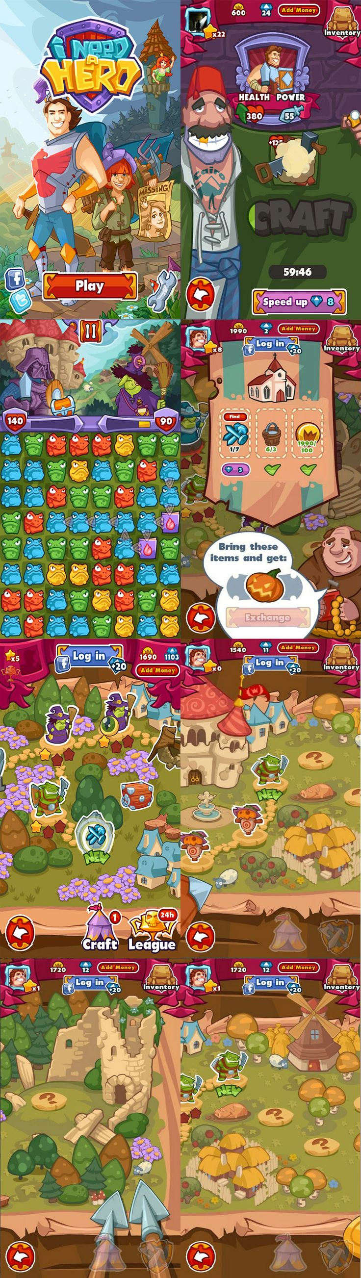 """""""Need a Hero"""" game ui, Android game by Alis Games"""