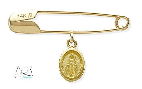 Small, oval Miraculous medal on baby pin crafted in 14K Yellow Gold. Christening or Baptisaml gift.