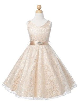 Champagne Lovely Lace V-Neck Flower Girl Dress (Available in Sizes 4-16 in 6 Colors)