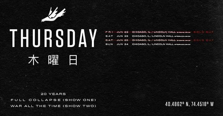 Happy bday to me. Both shows full collapse & war. @thursdayband  . . . . . . #chicago #thursday #screamo #fullcollapse #warallthetime #bday