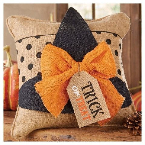Mud Pie Halloween Burlap Witch Hat Decorative Pillow Cover