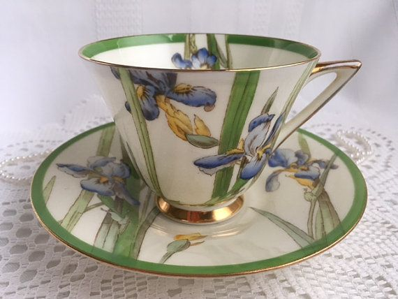 Royal Doulton Tea Cup and Saucer Iris by Oldcutvintage on Etsy