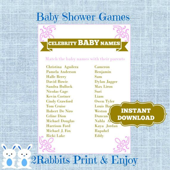 Princess Baby Shower Celebrity Baby Names Game Pink And Gold Celebrity Name  Match Up Game  Instant Download