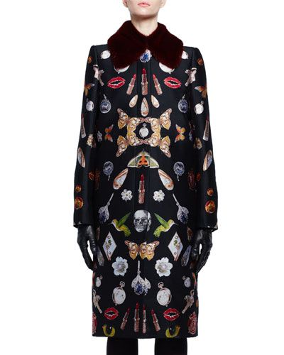 """Alexander McQueen coat in """"Obsession"""" talisman-print silk jacquard. Dyed mink fur (Finland) collar; button front. Long sleeves. Slim silhouette. Straight hem. Made in Italy."""