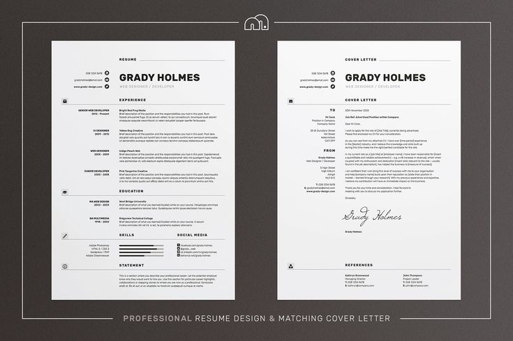 Resume/CV - Grady by bilmaw creative on @creativemarket A super clean design with featured icons, 'Grady' offers a meticulously crafted layout to suit any profession. Also included is a matching cover letter (including sample letter) for a complete presentation.