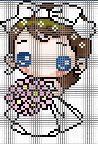 Cute Bride Hama Perler Bead Pattern or Cross Stitch Chart