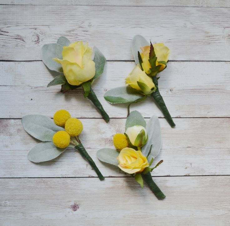 Yellow Boutonnieres with Lambs Ear - Yellow and Gray Boutonnieres, Wedding Boutonnieres, Set of Boutonnieres by blueorchidcreations on Etsy