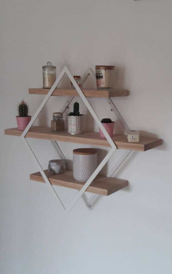 Shelf Style Industrial Diamond Iron And Wood Small Model Idee Scaffale Decorazione Scaffale E Scaffalature