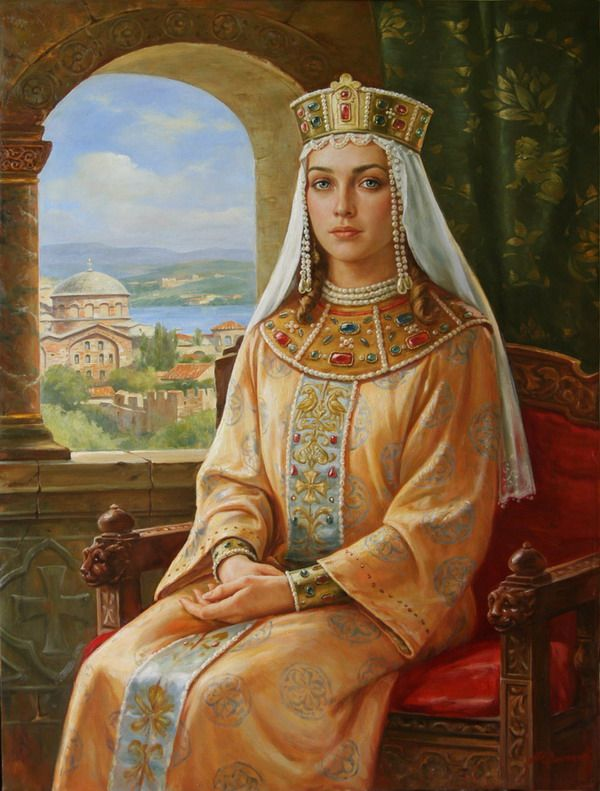 Princess Irina Volodarovna (Ирина Володаровна ) by Arthur Orlenov. http://io.ua/5165137# | 20th century Russian painting | Slavic royal women | Kievan Rus | 11th century medieval noblewoman | Byzantine Empire in Art