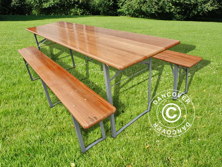 BEER TABLE SET, 220X60X76CM, DARK WOOD Beer Table Set, wooden with strong, foldable steel legs. The set can be used both indoor and outdoor and is easy to store when not in use due to the foldable legs. Perfect for the family gathering, the barbecue party, the Octoberfest, birthdays, and much more. Rental quality.