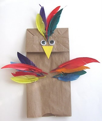 Bird Puppet - Lunch Bag and Feathers - use with the Brave Little Parrot story.