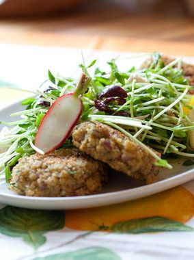 "Baked Quinoa ""Falafels"" with Radish and Pea Shoot Salad"