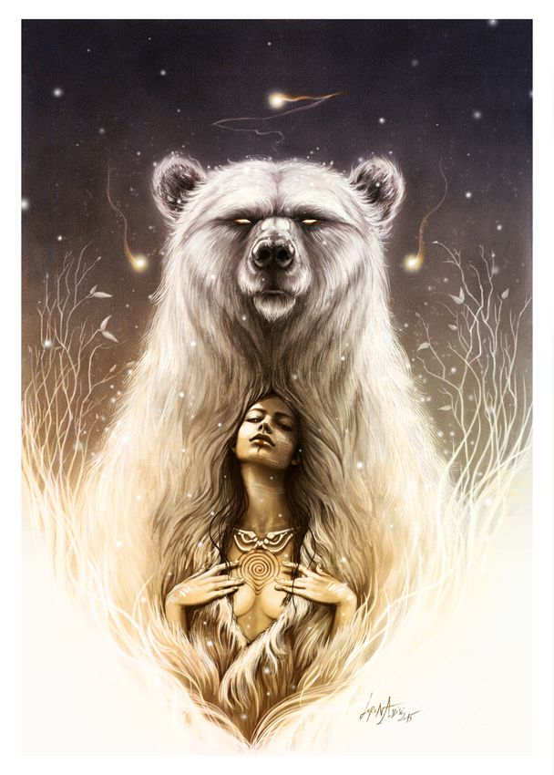 """Bear Spirit"" The shaman recall. For the ancient cultures, from the Native American to the Celts, it's a symbol of strength, wisdom, and archetypal femininity."" Back tattoo More"