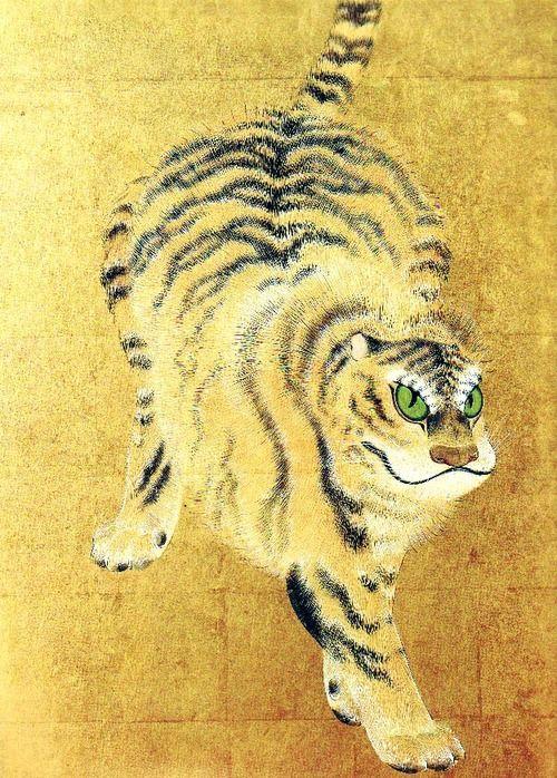 Maruyama Okyo (1733-1795), cat, tiger, gold, art, japan