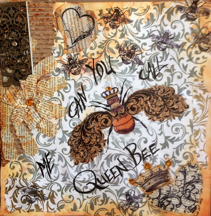 """Barbs Mey The Craftroom Mixed Media Collage """"Queen Bee"""""""
