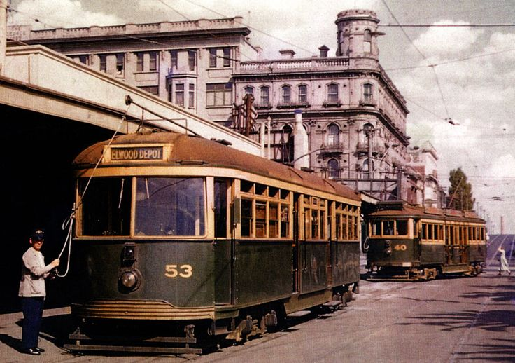 Victorian Railways trams at St Kilda, #53 today lives on at Melbourne Museum