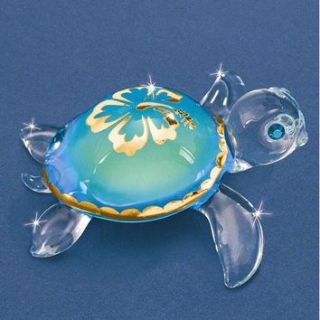 Small Aloha Sea Turtle Glass Figurine w/ Swarovski Elements