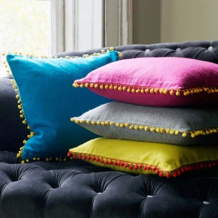 Fuschia, Grey and Yellow felt cushions with pom poms