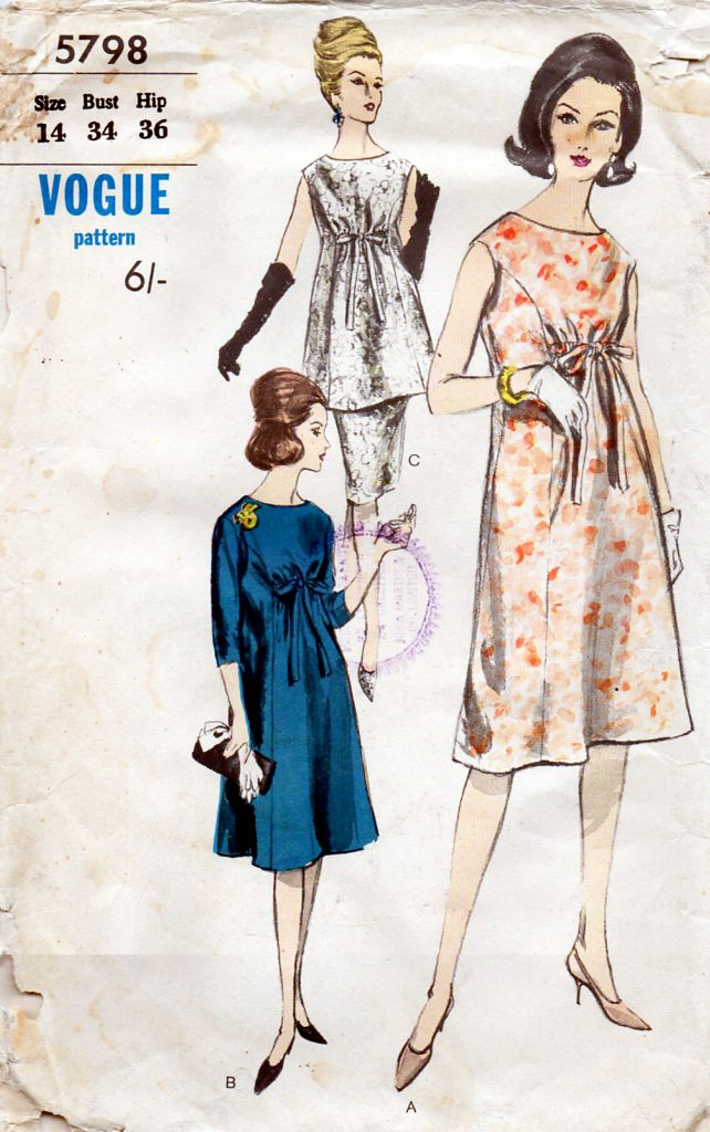 1960s Maternity Dress, Blouse & Skirt Vintage Sewing Pattern