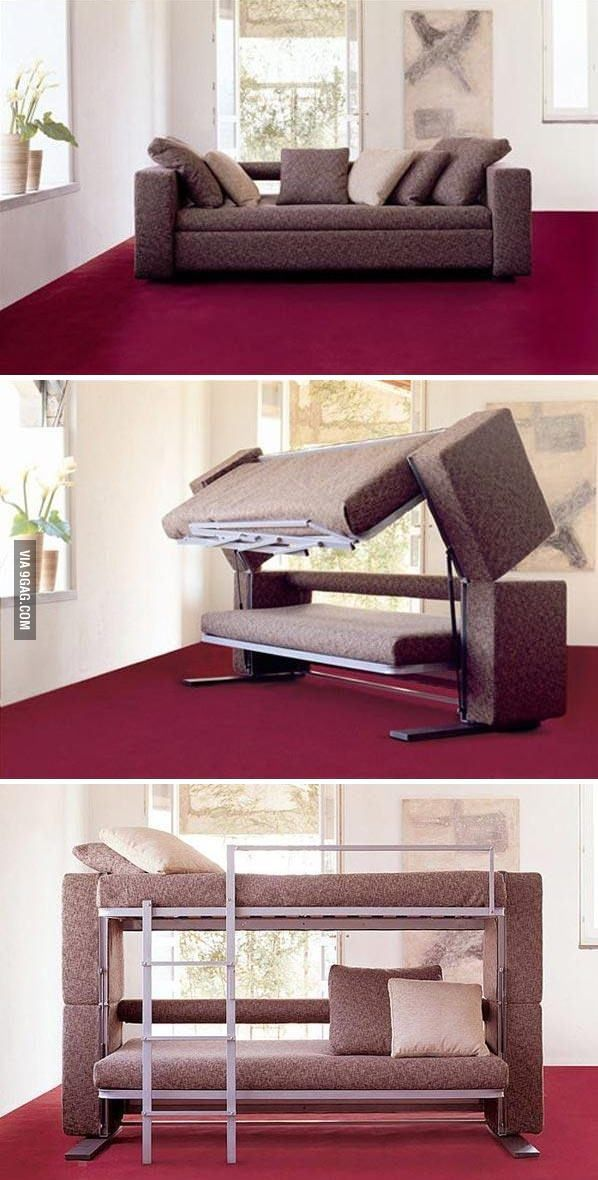 Sofa that switches to bunk bed= brilliant!