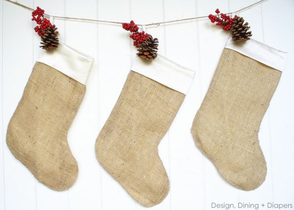 I thought I'd pop in and share the Burlap Christmas Stockings I made last year for Christmas.
