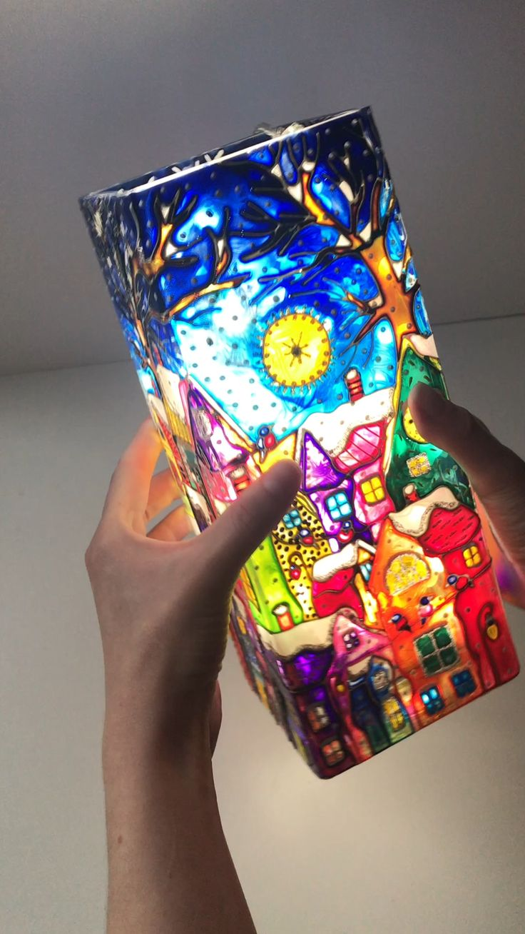 """Amazing Glass Vase """"Winter"""" Stained Glass Painting Christmas Gift Snow Houses Home Decor Candlestick"""
