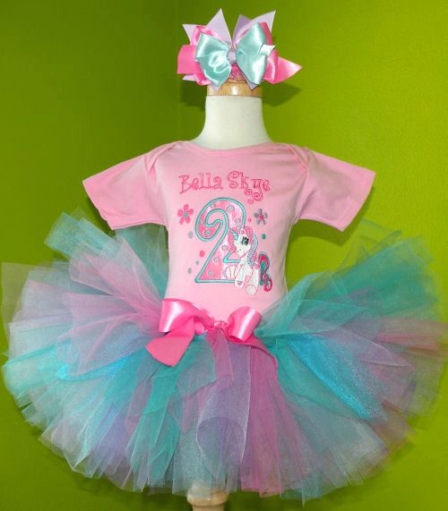 #MC Aqua n Lavender Pony Birthday Tutu Set Outfit by PoshBabyStore.com