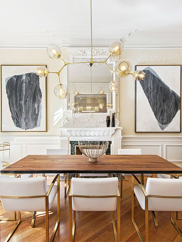 Glam dining room with gold accents  monochrome art  and classic  architectural details. Best 25  Dining room art ideas on Pinterest   Dining room wall