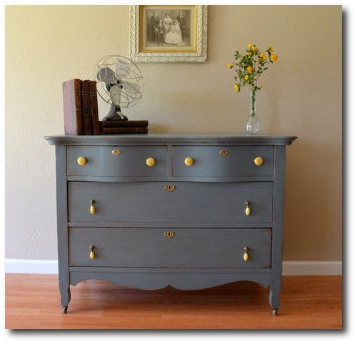Vintage+Painted+Furniture | Antique Painted Dresser Blue Gray Painted Furniture