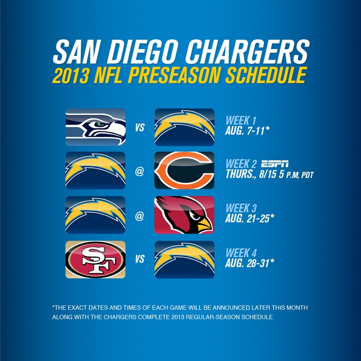 The Chargers to host Seahawks and 49ers while traveling to Chicago and Arizona for the 2013 preseason.  Join our mailing list to be notified when the exact dates and times of each game will be announced later this month along with the complete 2013 regular-season schedule. JOIN: http://chrg.rs/13JBAwH