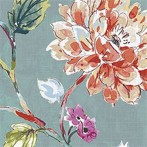 This is a blue, pink, orange, and green floral cotton drapery fabric, suitable for any decor in the home or office. Perfect for pillows, drapes and bedding.100,000 Double RubsMinimum 15 Yard Purchase.v283PPEF