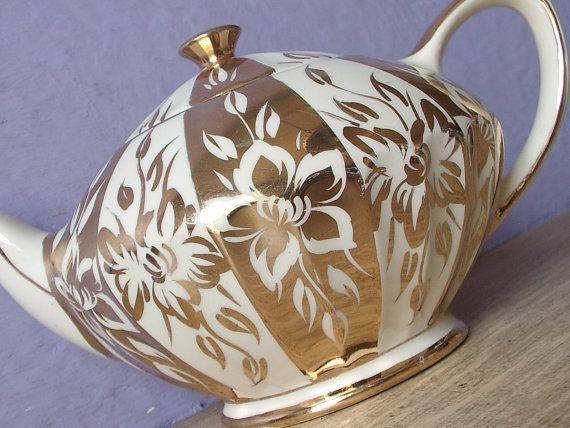 Vintage 1950's Gold teapot, Sadler teapot, Mid Century Modern teapot, Gold…
