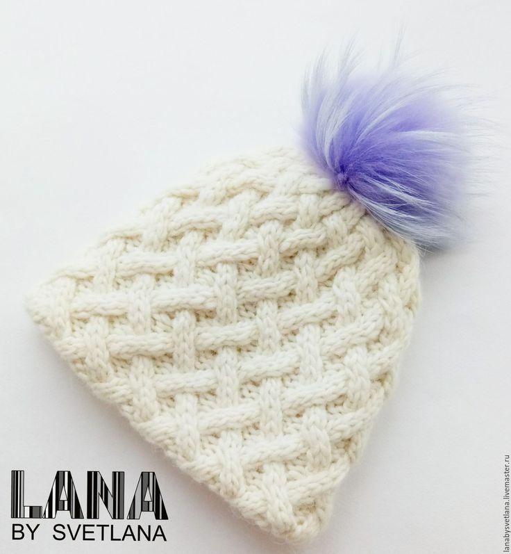 Купить Двухслойная объемная шапка с помпоном - шапка, шапка вязаная, шапка зимняя, шапка женская