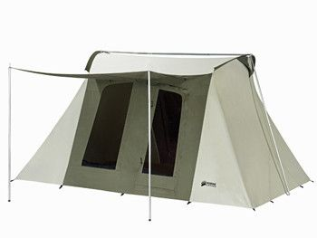 "10 X 14 Kodiak Canvas Flex-bow Tent- FAMILY STOREHOUSE -Hydra-ShieldTM, 100% Cotton Duck Canvas. Durable, watertight and breathable. Flex-Bow Frame: Exceptionally sturdy. Keeps tent taut. Quick and easy set-up. Spacious 6'6"" ceiling height provides walk-around comfort. Two large D-shaped doors (front and back) with #10 YKK zippers. Four large windows with no-see-um mesh. Large 84x78-inch awning. Warranty: Lifetime limited warranty."