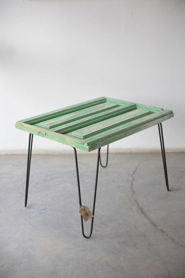 Side Tables – Salvaged Wood Side Table // Hairpin Legs – a unique product by MandraDesign on DaWanda