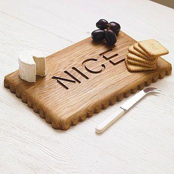 Nice Biscuit Platter Board handmade Oak by woodpaperscissorsuk
