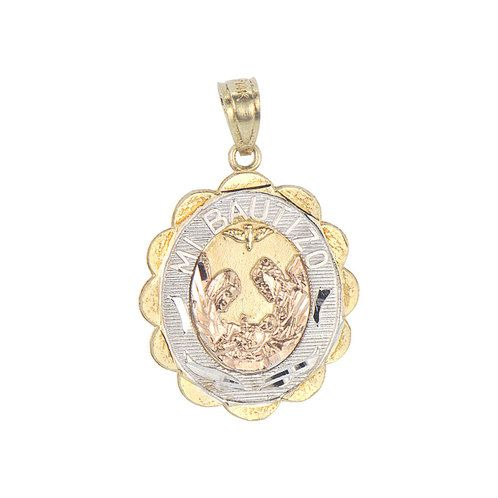 14k Tricolor Gold, Mi Bautizo Baptism Christening Medal Pendant Religious Charm Oval 17mm (P012-035)